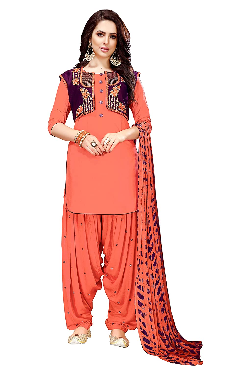 orange ziya New Women's Ethnic Indian Pakistani cotton's Patiala 9001 Sky bluee