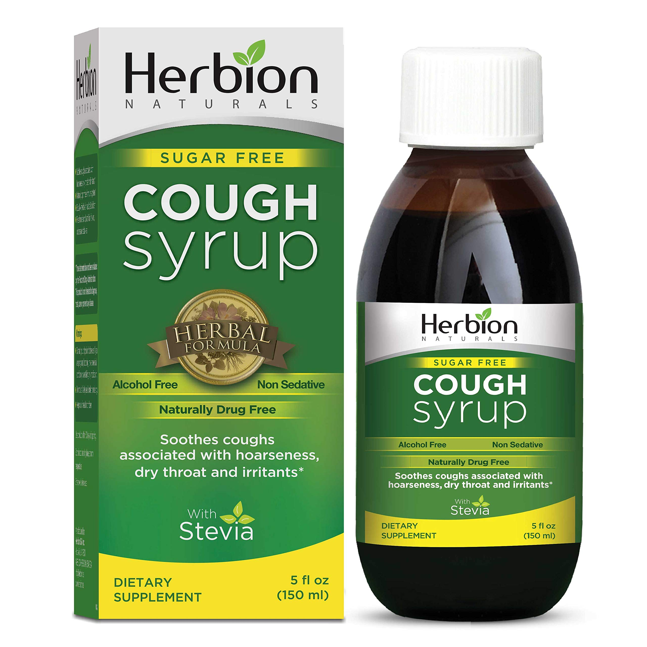 Herbion Naturals Cough Syrup with Stevia, Green, Sugar Free, 5.0 Fl Oz