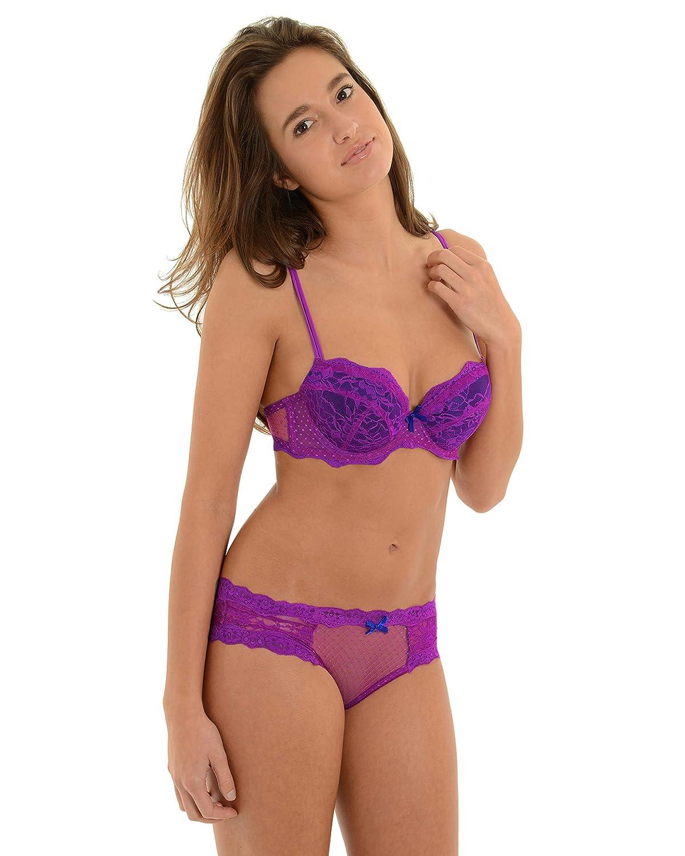 e004e1480e042 Juniors Bra and Underwear Sets Fuchsia Push Up Bra Lace Panties 2 Piece Set  Bra Pantie  36C XL Pantie at Amazon Women s Clothing store