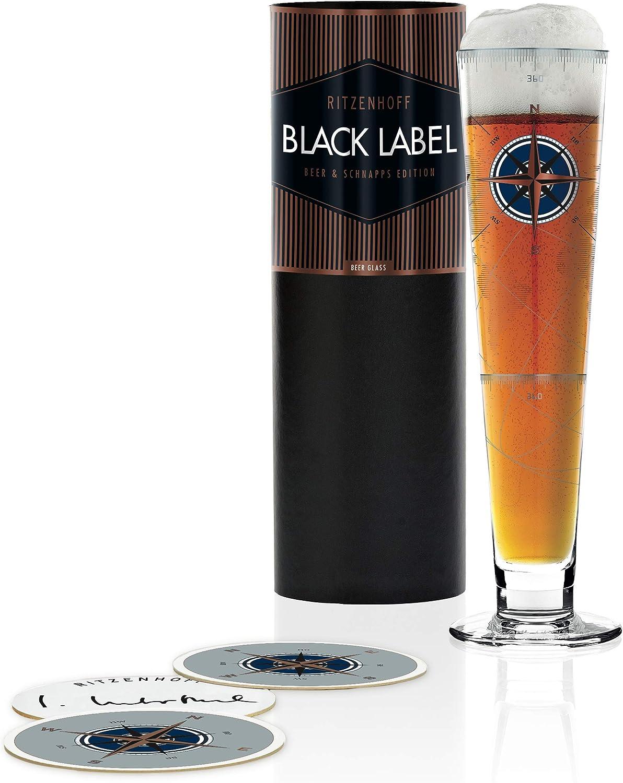 Ritzenhoff Black Label Vaso de cerveza, 300 milliliters, Cristal, Kupfer, Platin, Schwarz, Blau