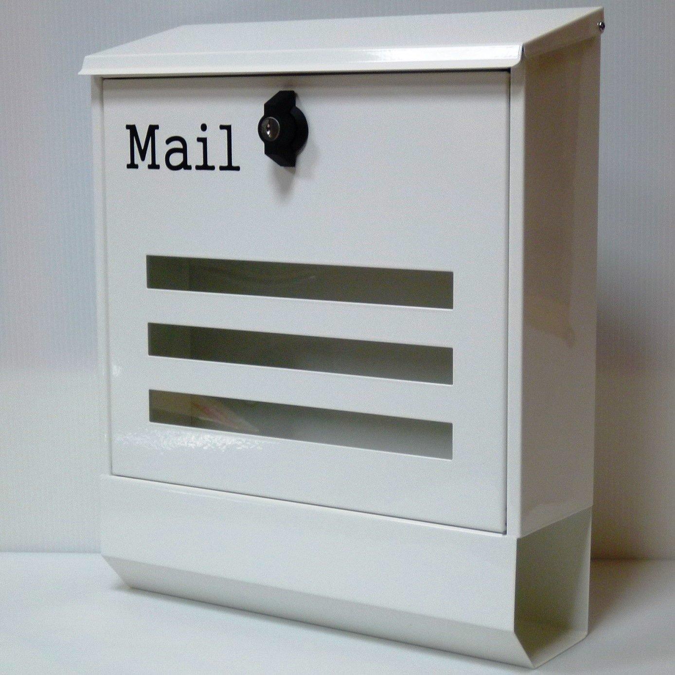 郵便ポスト郵便受け北欧風大型 壁掛けプレミアムステンレス白色ポストpm143 B018NNXWKU 12880