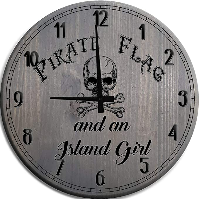 Amazon Com Mnk Large Wall Clock 12 Inch Pirate Flag Skull Island Girl Barnwood Gray Wall Decor Home Kitchen