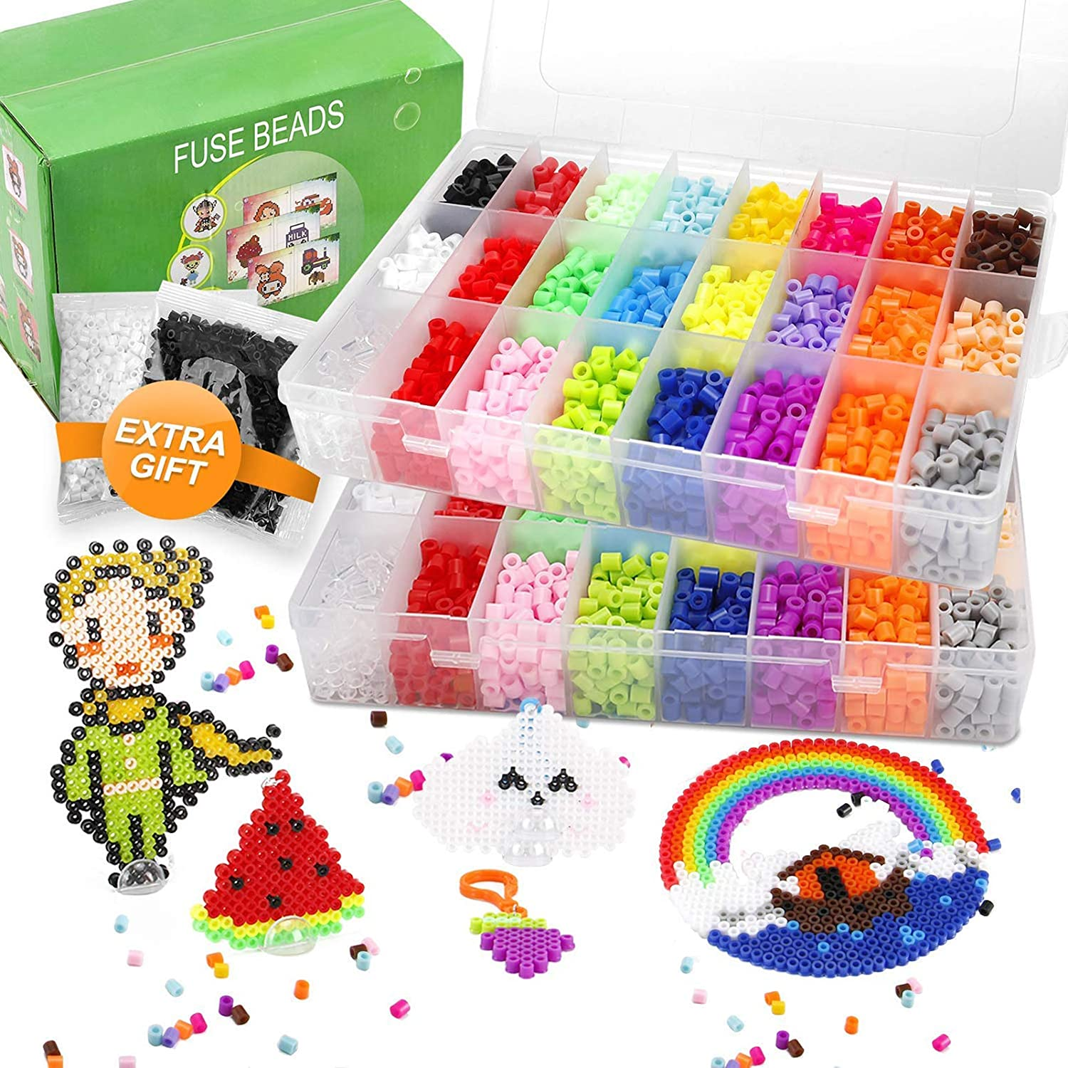 5200 Fuse Bead Set for Kids 5mm 22 Colors 80 Full Size Patterns 3 Pegboards Perler Melty Iron Hama Compatible Kit