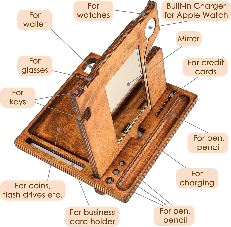 Office Organizer Wooden Stand Mini Wood Desk Organizer Wood Phone Stand Mini Organiser Key Organiser