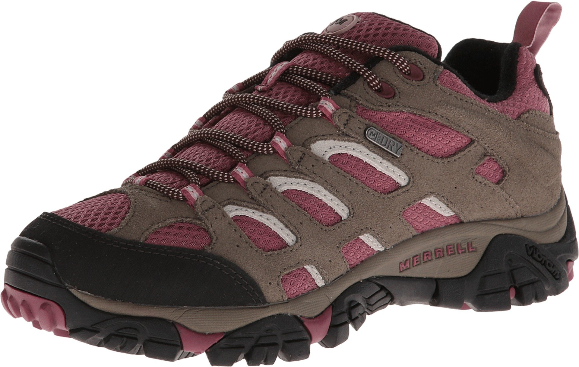 Merrell Women's Moab Waterproof Hiking Shoe,Boulder/Blush,7 M US