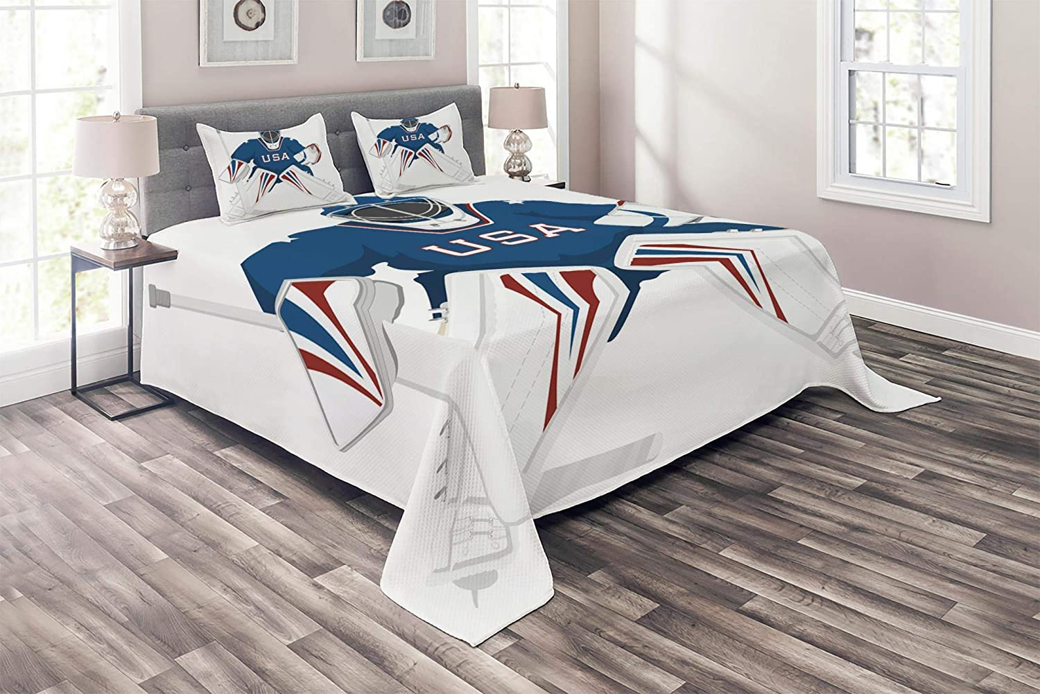 Lunarable Sports Coverlet Set Twin Size 2 Piece Decorative Quilted Bedspread Set with 1 Pillow Sham USA Hockey Goalie Protection Jersey Sport Wear Activity Hobby Illustration Burgundy Blue White bedcen/_11500/_twin