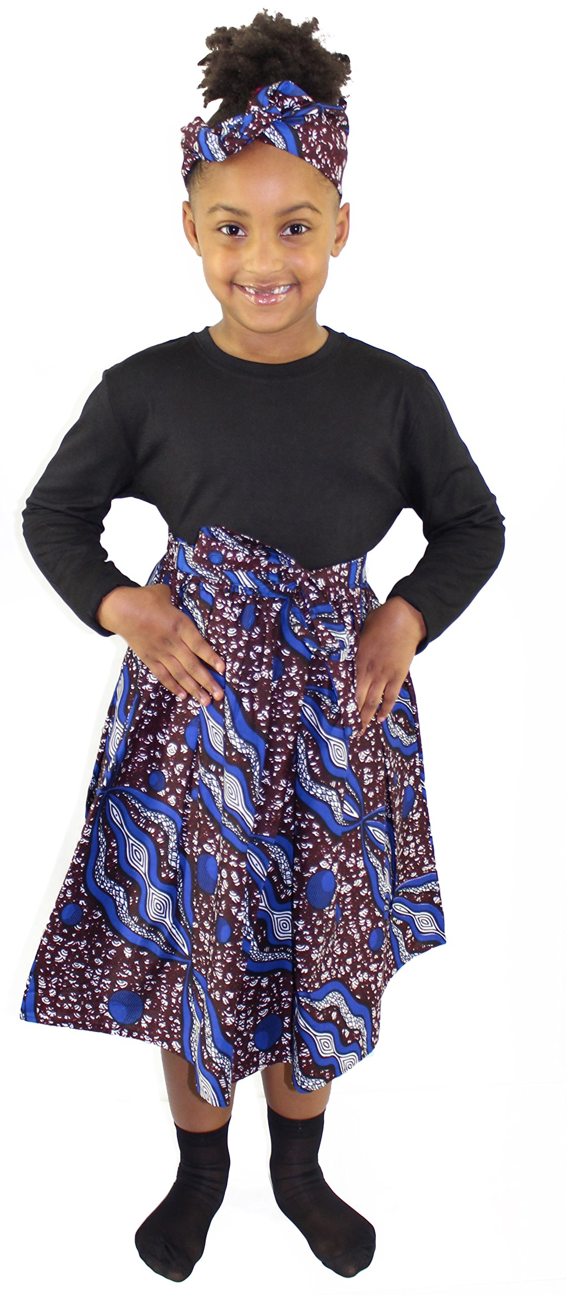 African Planet Girl's Ankara Wax Skirt with Matching Headwrap (CB)