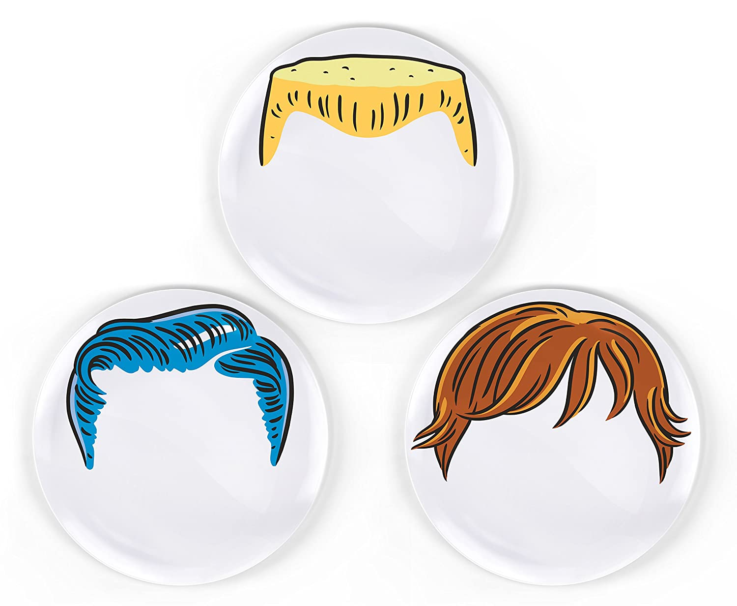 Amazon.com | Fred DINNER DOu0027S Boyu0027s Hairstyle Dinner Plates Set of 3 Childrens Party Plates Accent Plates  sc 1 st  Amazon.com & Amazon.com | Fred DINNER DOu0027S Boyu0027s Hairstyle Dinner Plates Set of ...