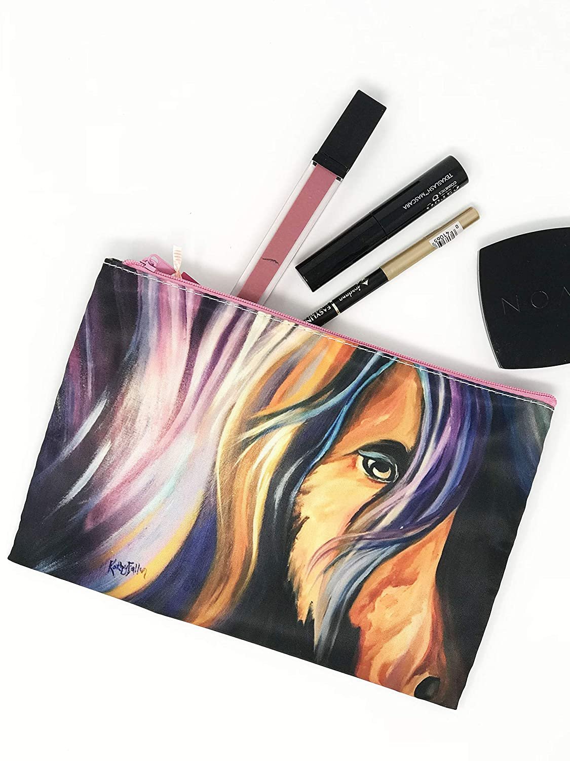 Cosmetic Makeup Fine Art Bag, Artist Equestrian Lover, Horse Purse Small