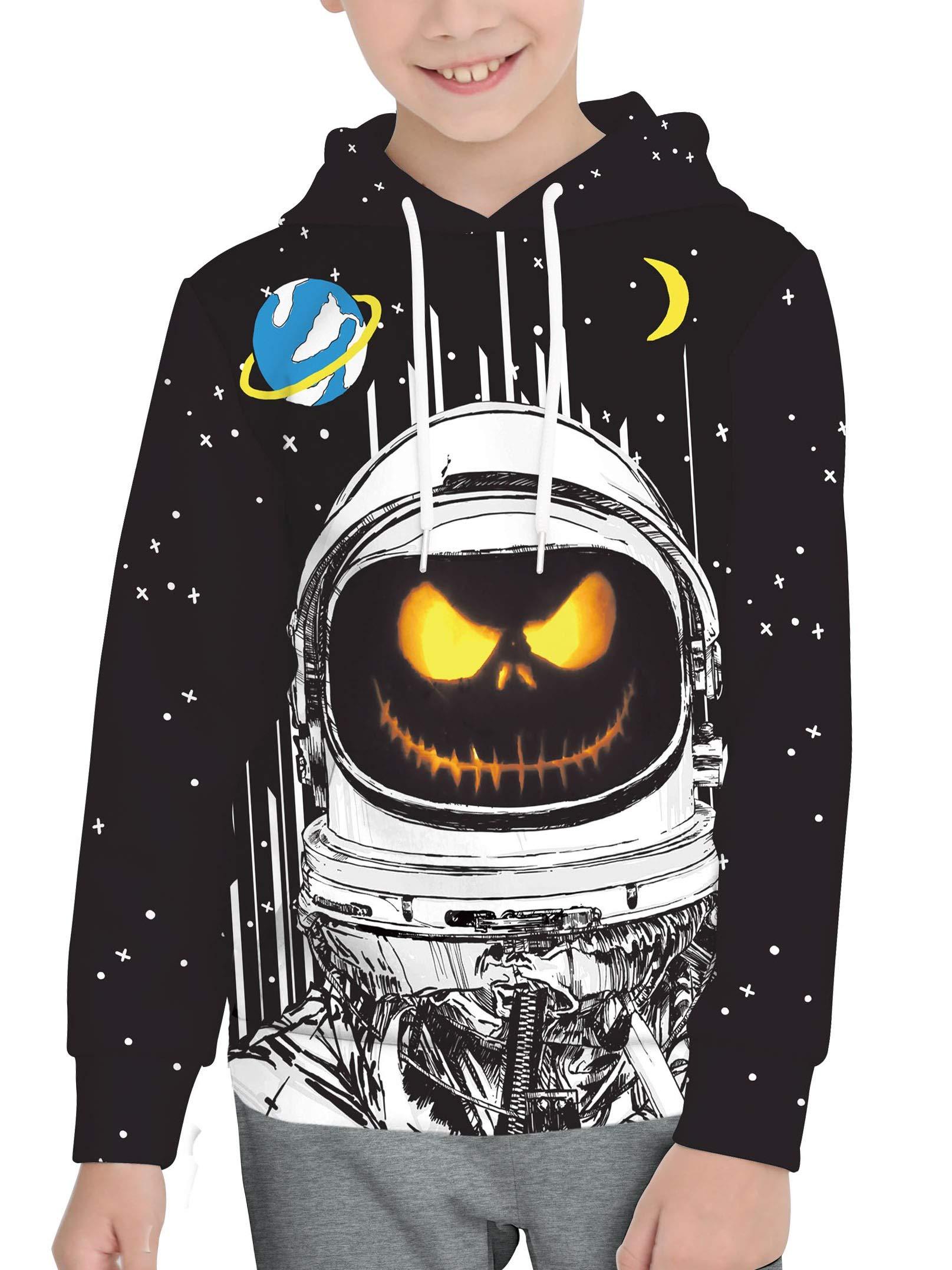 BesserBay Unisex Kid's Halloween Long Sleeve Hoodies Graphic Astronaut Printing Sweatshirts Black Pullover Tops 2-4T