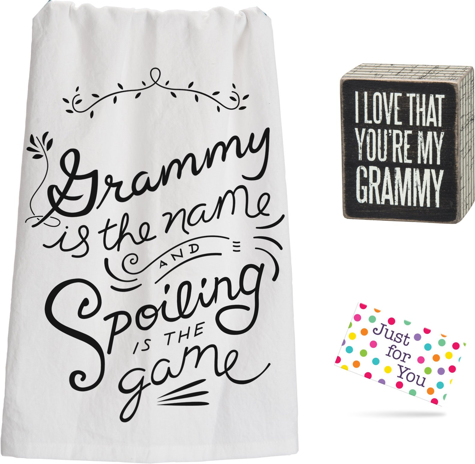 Grammy Spoiling Kitchen Towel and Love That You're My Grammy Box Sign Set with Gift Tag by J4U
