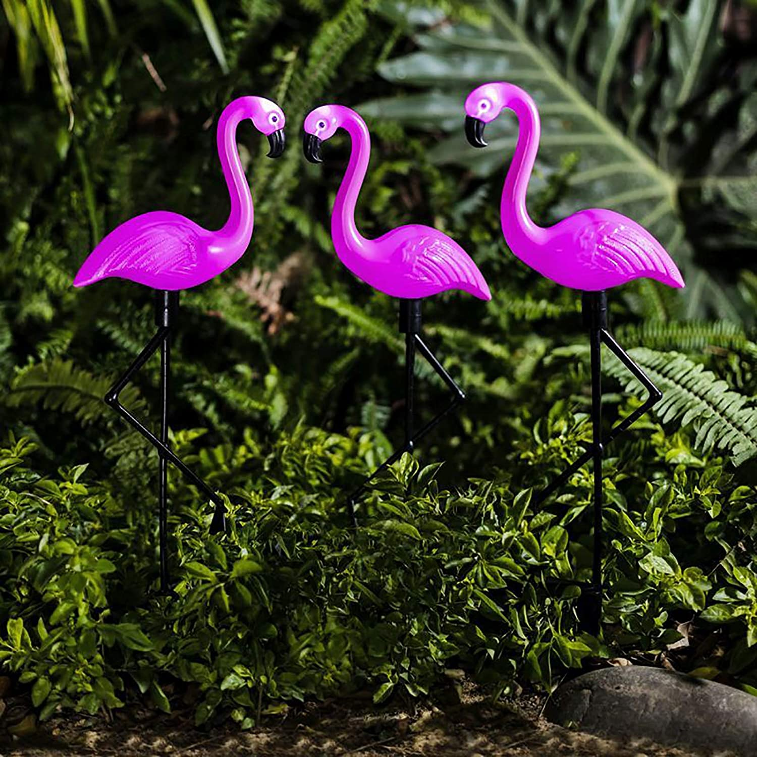 SESERIA Garden Outdoor Solar Lights, 3Pack Flamingo Led Stake Light Solar Powered Waterproof Pathway Lawn Yard Landscape Path Decorative Lights