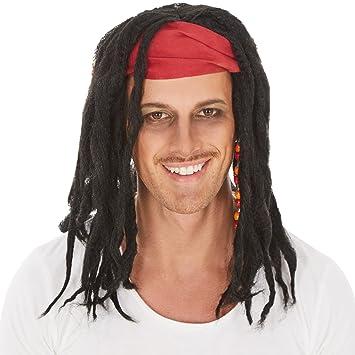 dressforfun Peluca de Caribe Pirata para Hombre | Bonitas y Salvajes Rastas con Pañuelo