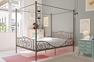 DHP Canopy Metal Bed, Pewter, Full