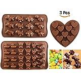 Moule Chocolat, Joyoldelf Moule Silicone Moule Bonbon, en Forme de Animaux Mignons et Cœurs, Moule Sucette Chocolat pour Faire Chocolat Bonbon Savon Gâteaux Muffin Gelée, Lot de 3
