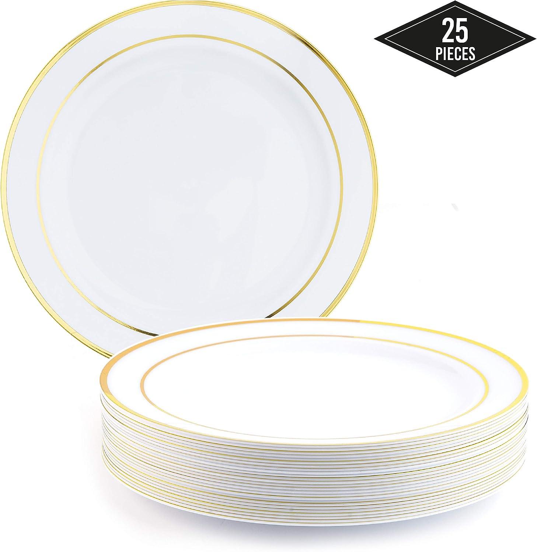 25 Elegante Platos de Plástico Desechables con Borde Dorado, 26cm  IRROMPIBLE, Resistente, Aptas Para el Lavavajillas, Reutilizable  Vajilla Desechables para Fiestas Catering Bodas Cumpleaños y Más.