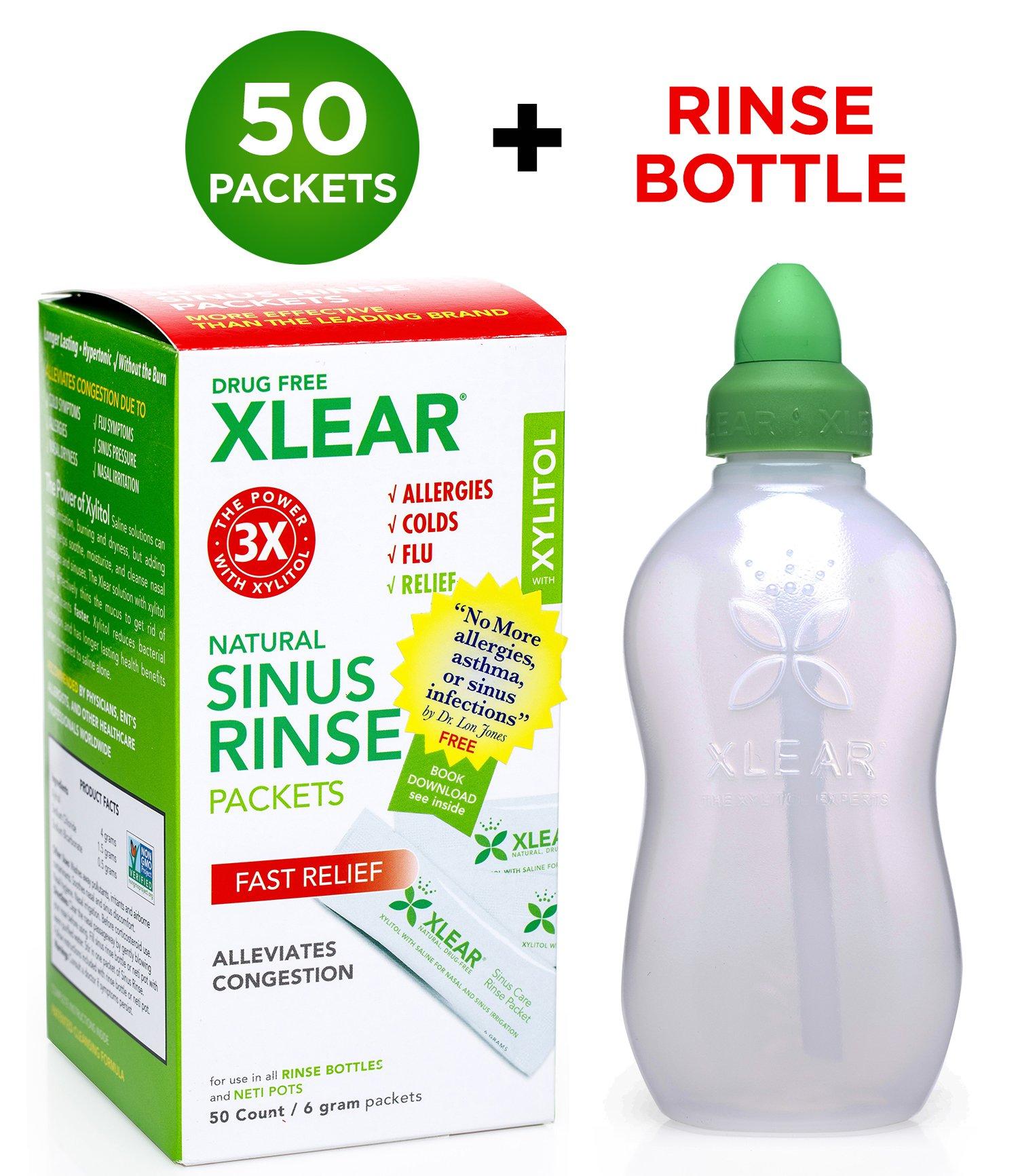 Xlear Sinus Rinse Kit (Bottle + 50 Packets): Nasal Rinse Irrigation Neti Bottle Set - Revolutionary Formula for Congestion Due to Allergies, Colds, Pet Dander, Hay Fever, Dust, Sinusitis, Flu