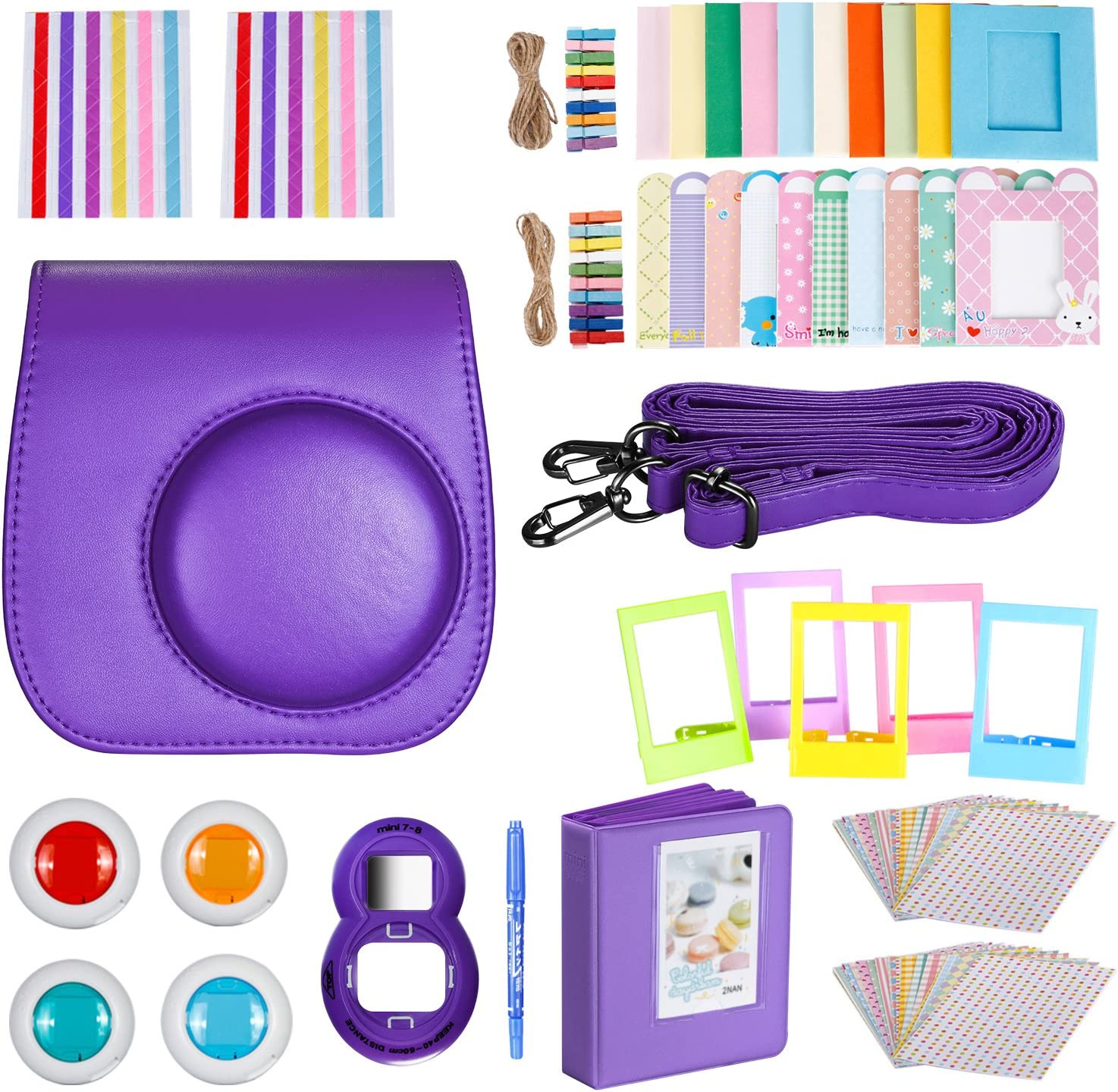 Leebotree Instant Camera Accessories Compatible with Instax Mini 11 Instant Film Camera Include Case//Album//Filters//Wall Hang Frames//Film Frames//Border Stickers//Corner Stickers Lilac Purple