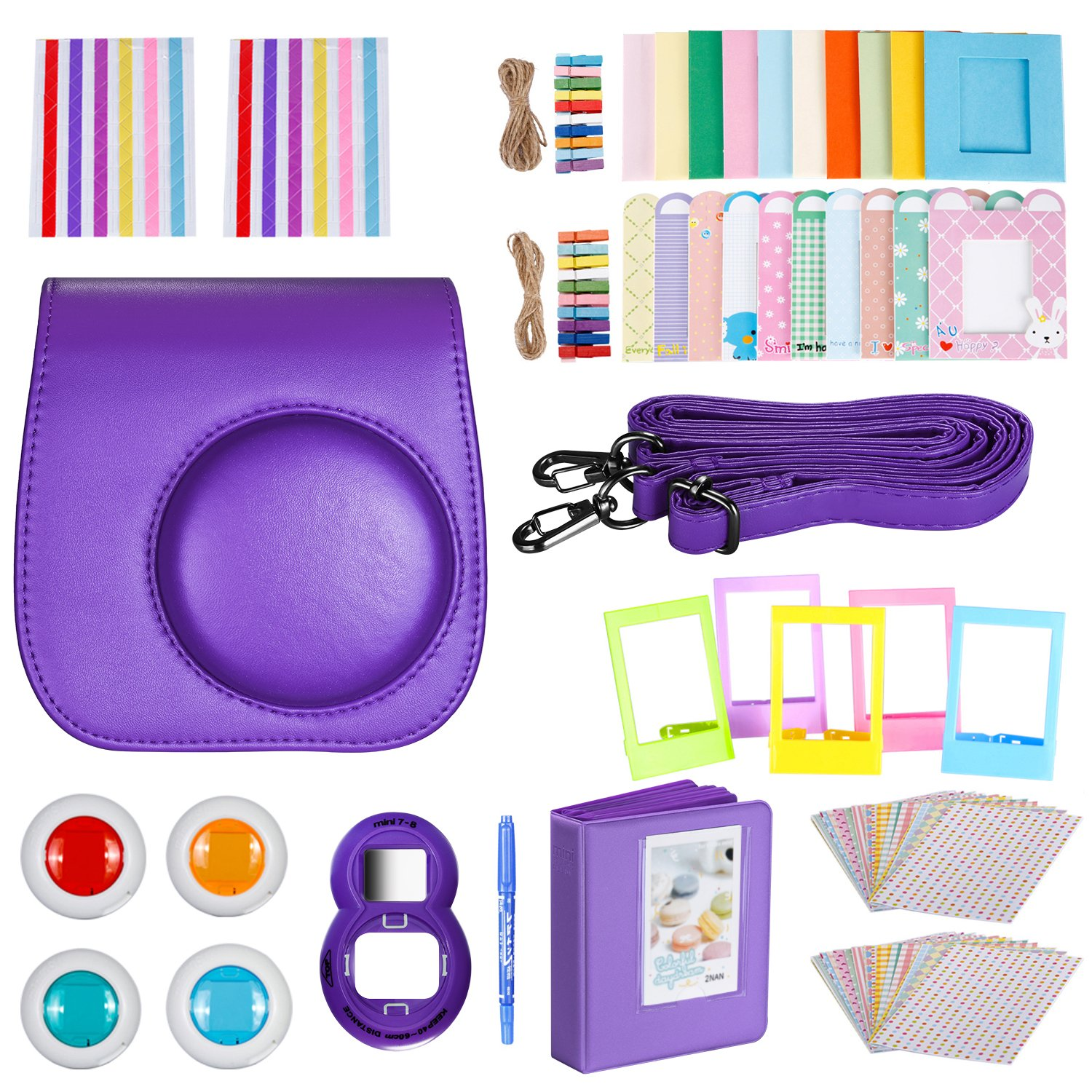 Neewer Purple 10 in 1 Accessories Kit For Fujifilm Instax Mini 8/8s: Camera Case; Album; Selfie Lens; 4 Colored Filter;5 Film Table Frame;20 Wall Hanging Frame;40 Border Sticker;2 Corner Sticker;Pen by Neewer