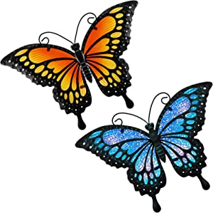 2 Pieces Metal Butterfly Wall Decor Outdoor Indoor Art Sculpture Hanging Glass Decorations Blue and Yellow for Home Garden Bedroom