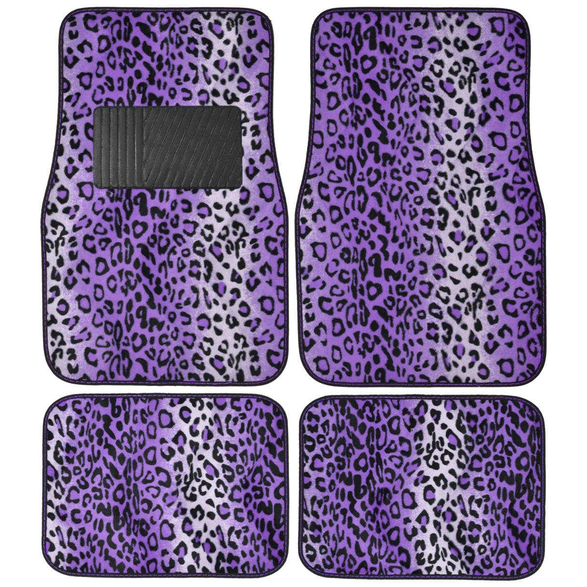 A Set of 4 Universal Fit Animal Print Carpet Floor mats for Cars / Truck - Leopard Purple