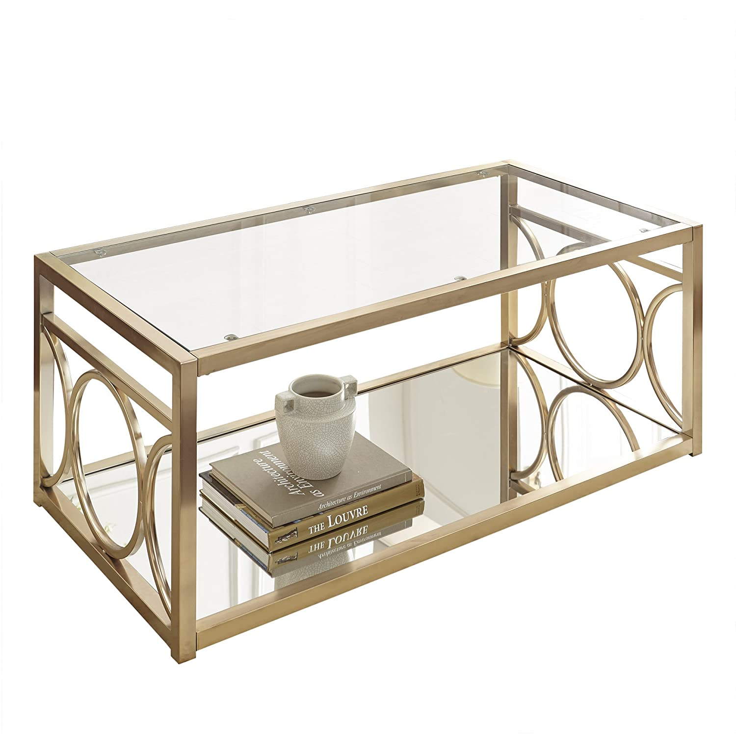 Amazon Steve Silver Olympia Glass Top Coffee Table in Gold