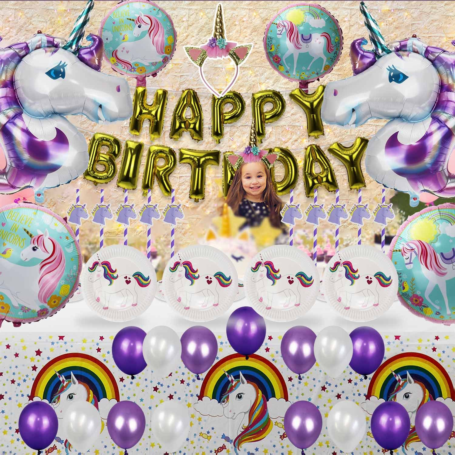 Unicorn Party Supplies Happy Birthday Decorations Banner for Kids