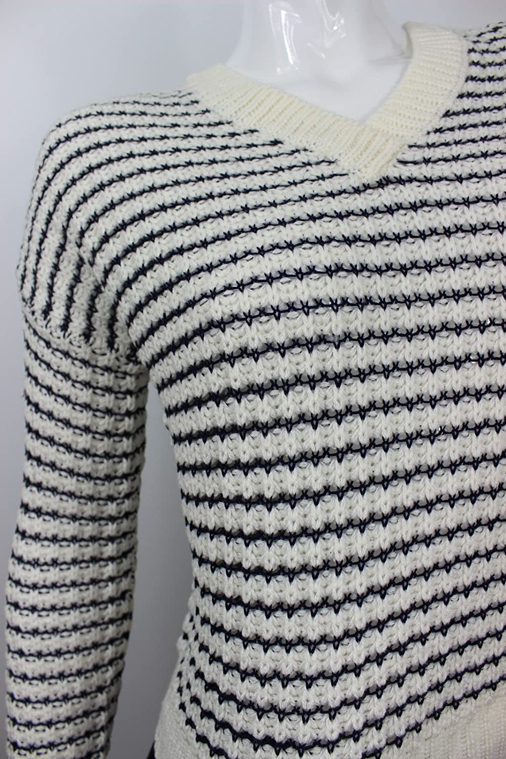468a0f510d Romeo   Juliet Couture Women s Blue White Striped Sweater at Amazon Women s  Clothing store