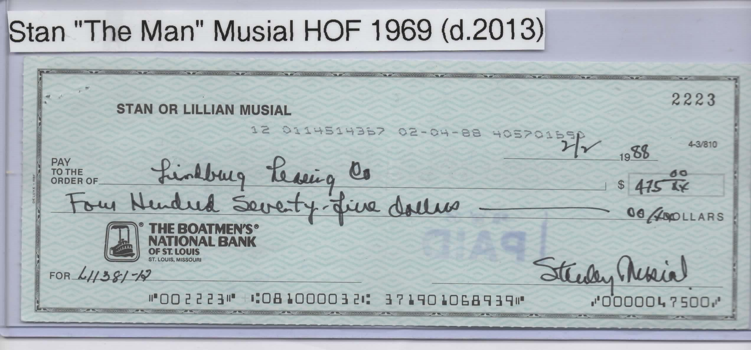 STAN MUSIAL SIGNED PERSONAL CHECK #2223 ST. LOUIS CARDINALS