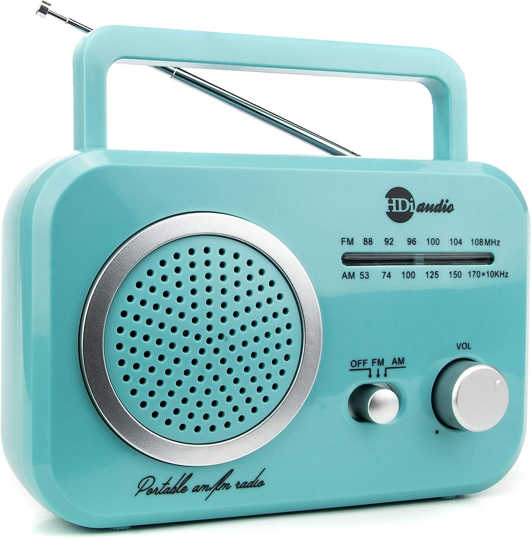 HDi Audio Radio Teal/Silver Premium Home Vintage Portable Retro Radio Classic AM/FM Radio with Built in Speakers + Headphone Jack: Home Audio & Theater