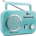 HDi Audio Radio Teal/Silver Premium Home Vintage Portable Retro Radio Classic