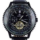 Orkina Montre bracelet avec boîtier en acier inoxydable noir et cadran mécanique/automatique Bracelet en cuir noir Affichage date