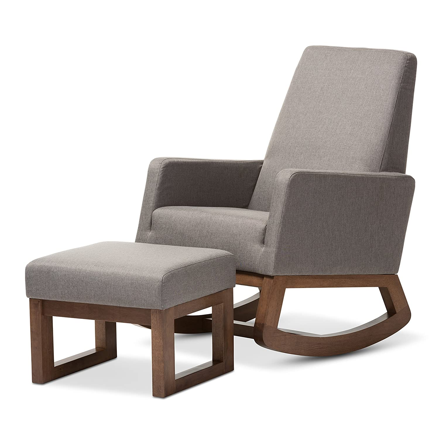 Superbe Amazon.com: Baxton Studio Yashiya Mid Century Retro Modern Fabric  Upholstered Rocking Chair And Ottoman Set, Grey: Kitchen U0026 Dining