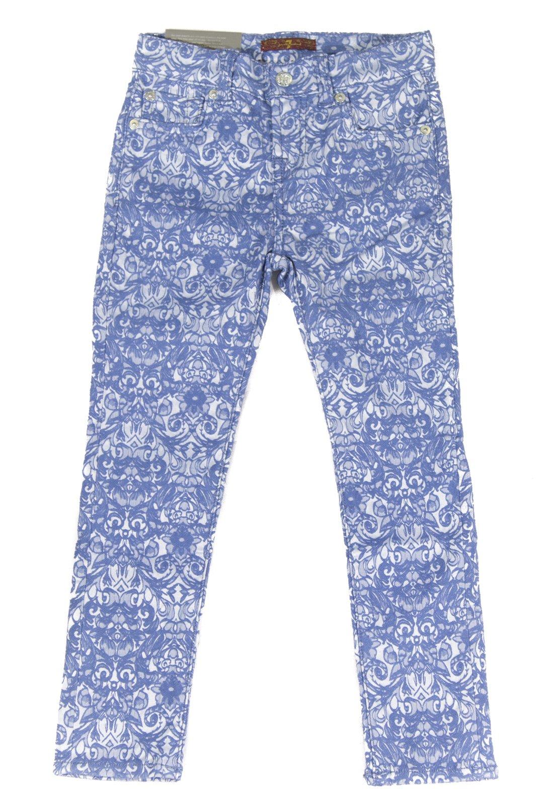 7 For All Mankind Girl's Skinny Legging Jeans 7FFXG2162, 8 Moroccan Blue Jacquard