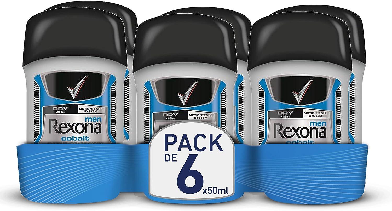 Rexona Cobalt Dry, Desodorante Antitranspirante, 50 ml, 6 Unidades