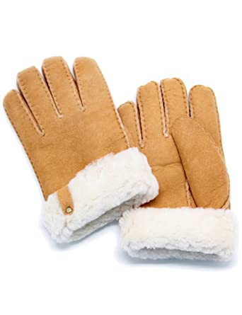 9232d6c23 YISEVEN Men's Merino Rugged Sheepskin Shearling Leather Gloves Mittens  Sherpa Fur Flip Cuff Thick Wool Lined