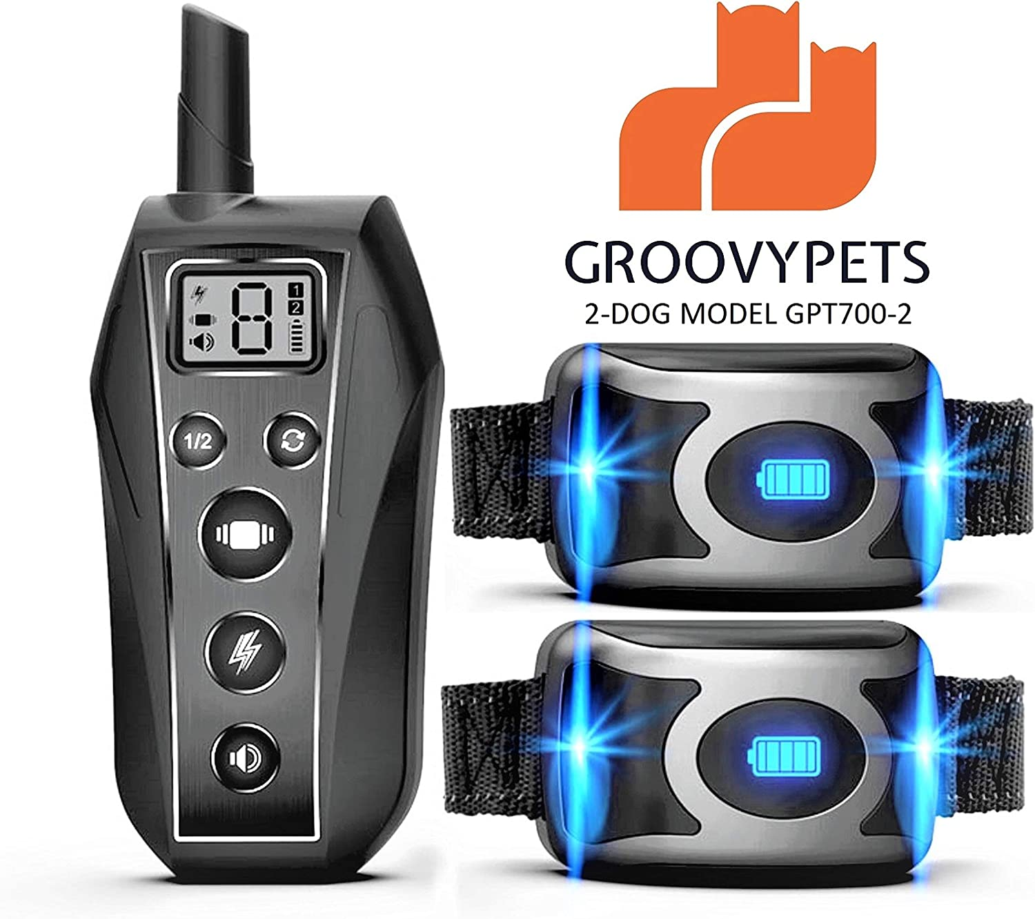 GROOVYPETS 650 Yard Remote Dog Training Shock Collar w Safe Humane Beep, Vibration and Shock Waterproof 40 Days of Battery Life for Small Medium Large Dog