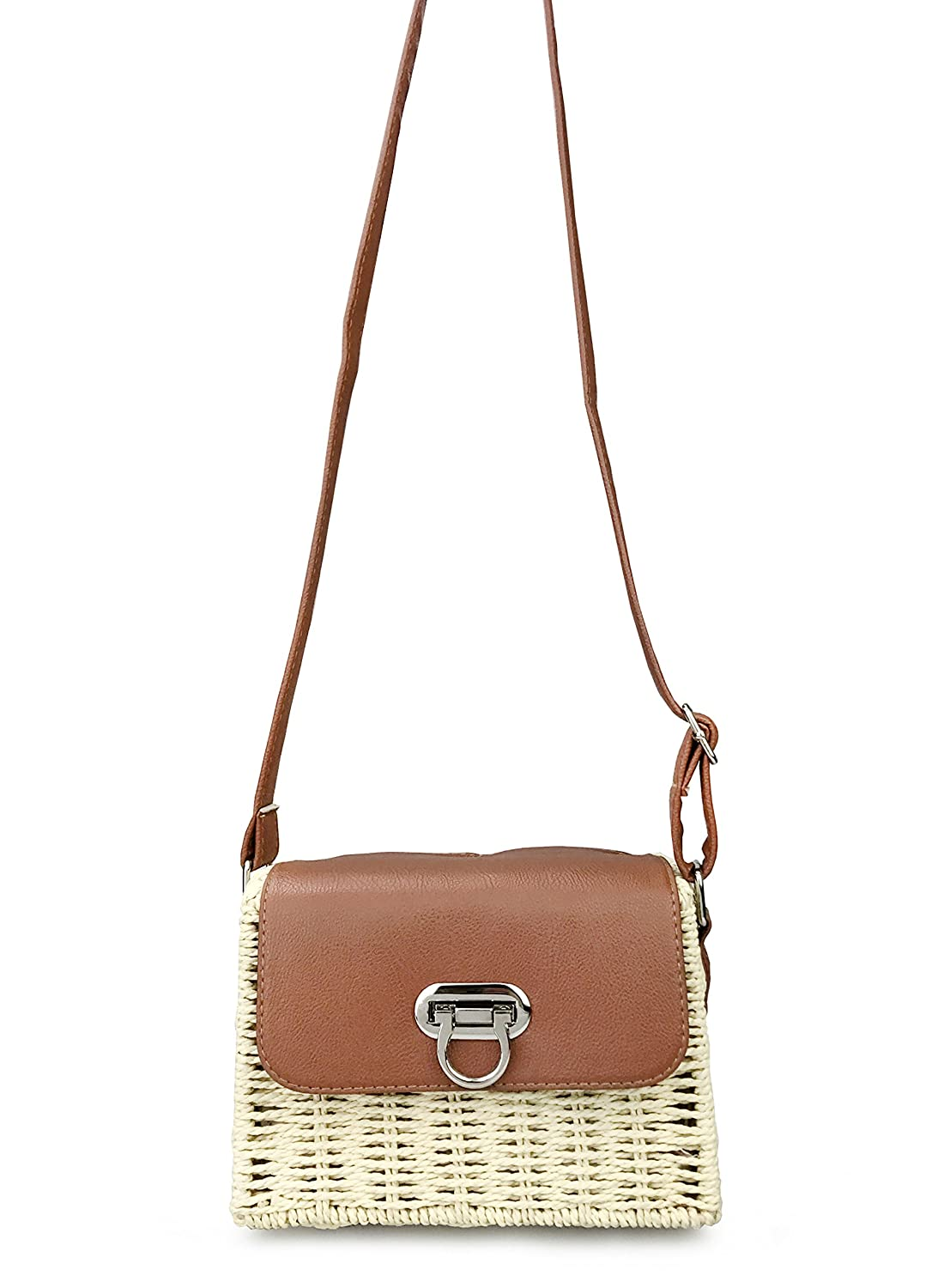 531d35ff9f51 Vintage Straw Basket Case Cross Body Bag Womens Small Vacation Purse ...