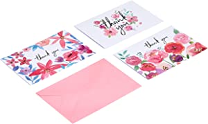 AmazonBasics Thank You Cards, Floral, 48 Cards and Envelopes