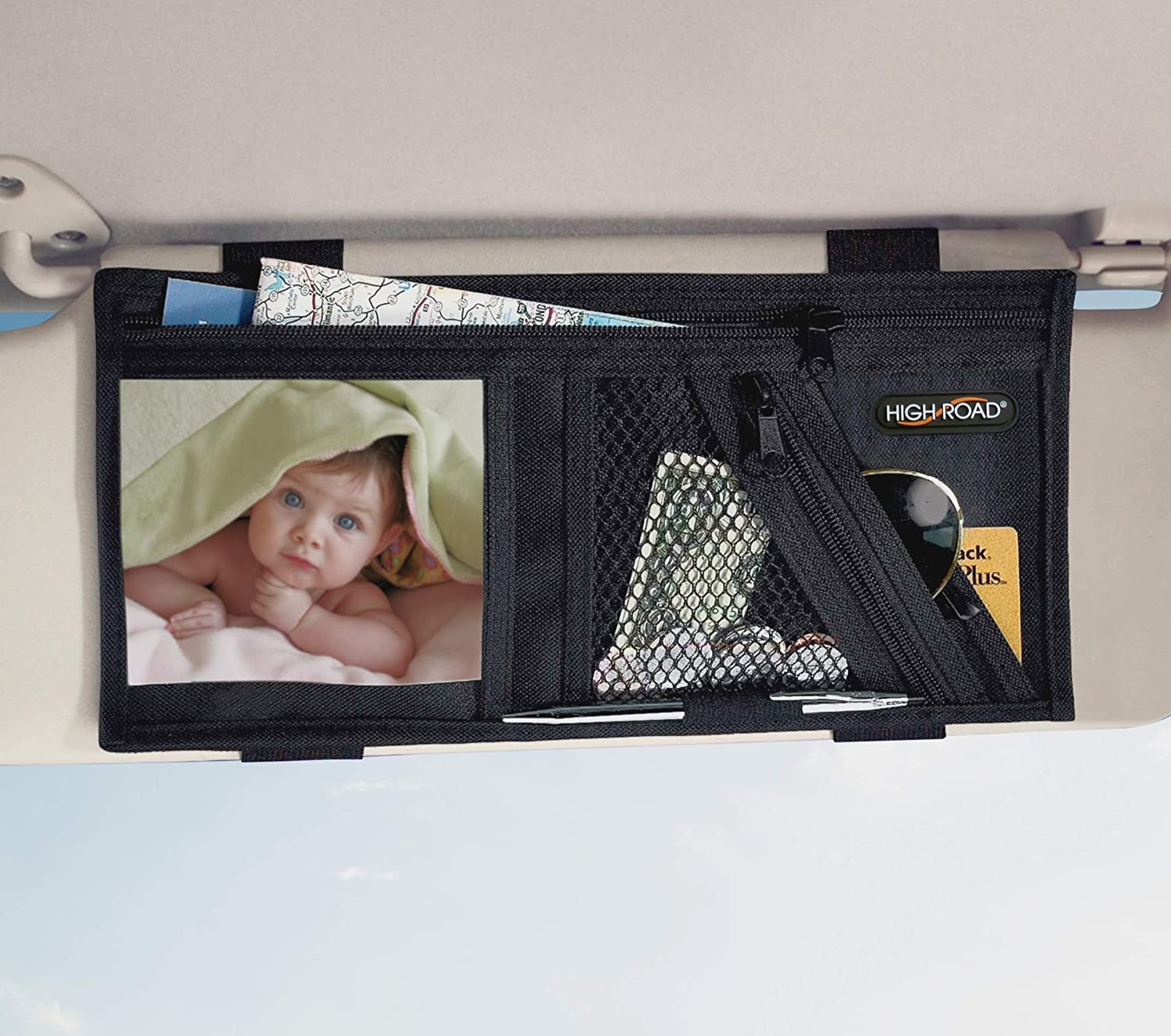 High Road Car Visor Organizer with Zippered and Soft-Lined Pockets
