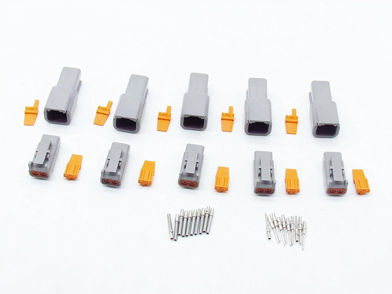 CNKF 5 Sets DTM gray Plug 2 position way male female auto connector DTM06-2S DTM04-2P
