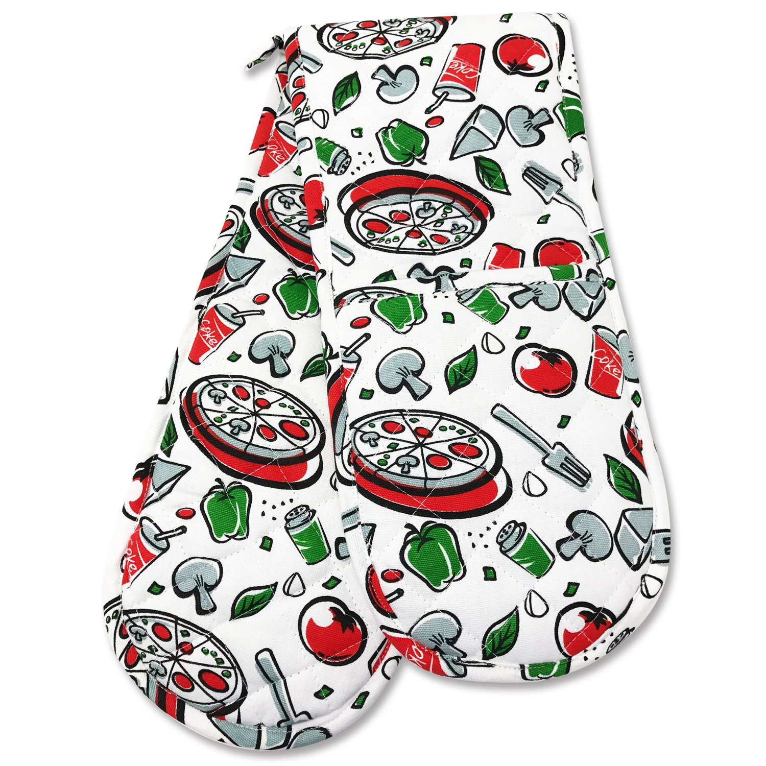 Smart Home, Fun Coke Pizza, 1 Piece, Long Double Oven Mitts Gloves, Heat Resistant, 100% Cotton, Extra Thick, Quilted