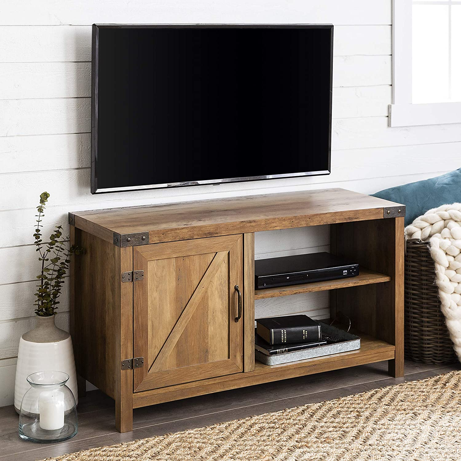 Home Accent Furnishings New 44 Inch Barn Door TV Console with Rustic Oak Finish