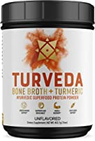 TURVEDA Turmeric Curcumin Infused Paleo Keto Golden Bone Broth Protein Superfood Powder (Grass-Fed, Unflavored, 20 servings)