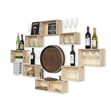 Amazon.com: wallniture Soporte de pared Rústico Vino rack ...