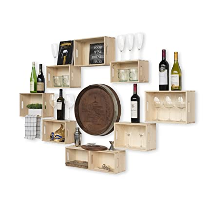 Wallniture Rustic Wine Rack Storage Baskets Wall Mount Wooden Crates Natural Set Of 9