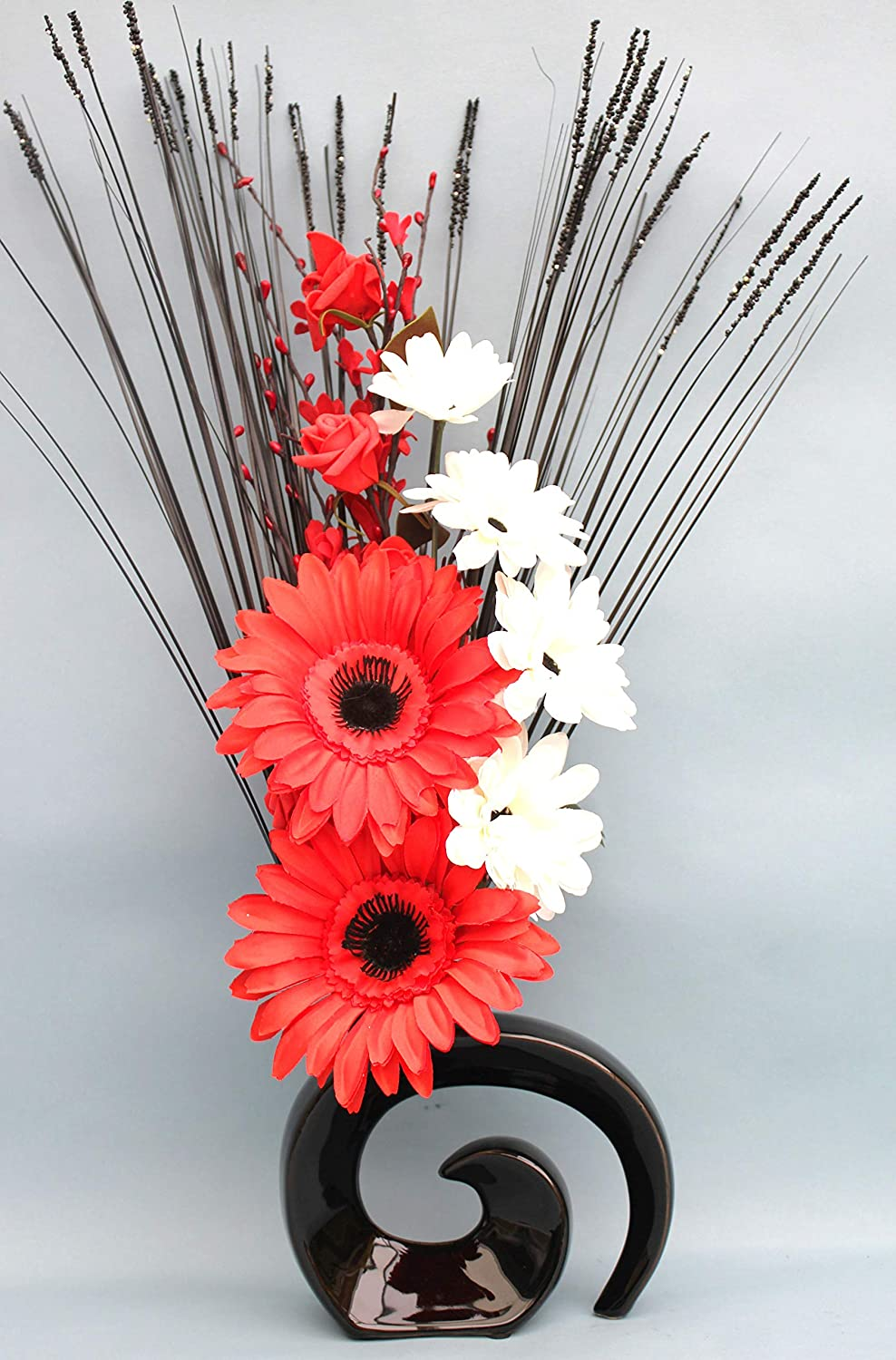 SIMPLY GIFT SOLUTIONS LTD ARTIFICIAL SILK RED GERBERA, WHITE FLOWER, RED ROSE & GRASSES IN BLACK FOSSIL CERAMIC VASE