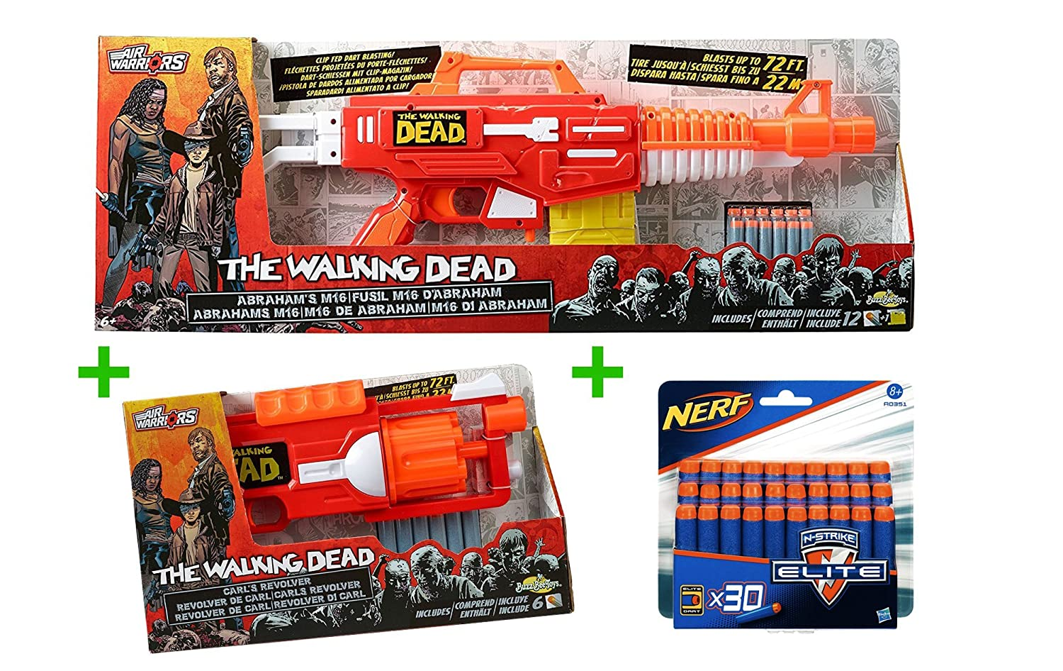 The Walking Dead Blaster Bundle - BuzzBeeToys Abrahams M16 und Carls Revolver mit 30 original Nerf Elite Darts