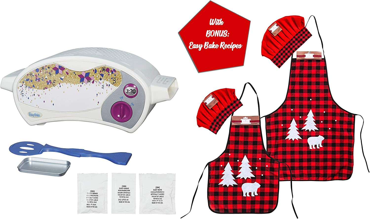 Easy Bake Ultimate Oven with Chef Set Gift Bundles for Boys and Girls, Little Chef Gifts, Aprons Sets for Children, Kids Holiday Presents (Oven + Parent & Child Christmas Apron Set)