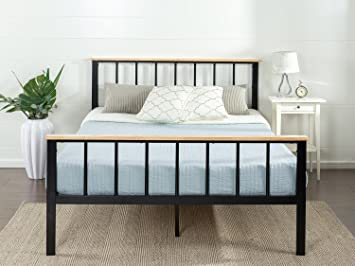 zinus metal and wood platform bed with wood slat support queen